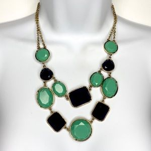 Jewelry - Green Blue Faceted Gold Tne Bib Statement Necklace